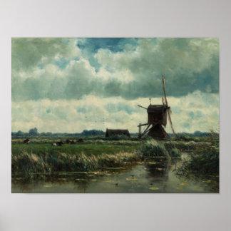 Paisaje del pólder con el molino de viento, Willem Póster
