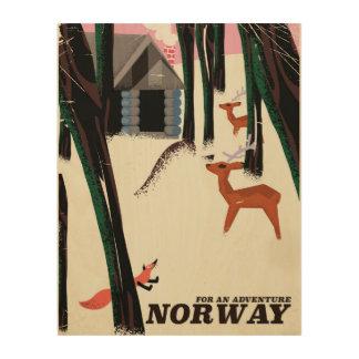 Paisaje del poster del viaje del vintage de impresión en madera