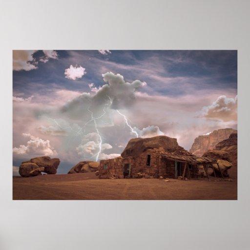 Paisaje del relámpago del desierto del sudoeste de impresiones