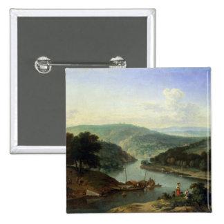 Paisaje del río, 1697 pin cuadrada 5 cm