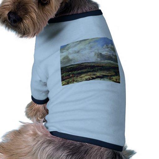 Paisaje del río con el fiesta de la caza por Konin Camisetas De Perrito
