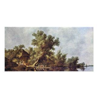 Paisaje del río con el transbordador de Ruysdael Tarjeta Fotográfica