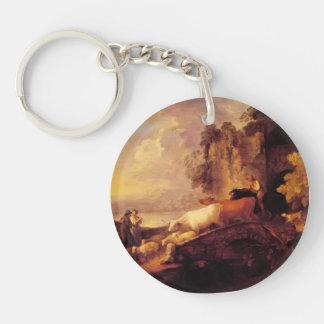 Paisaje del río de Thomas Gainsborough-, amantes r Llaveros