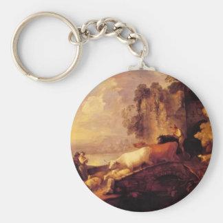 Paisaje del río de Thomas Gainsborough-, amantes r Llavero Personalizado