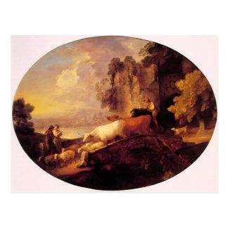 Paisaje del río de Thomas Gainsborough-, amantes r Postal
