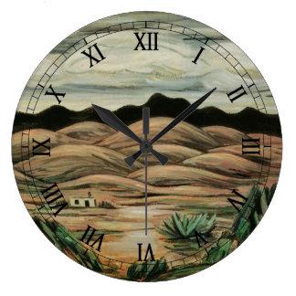 Paisaje del vintage, escena del desierto de reloj redondo grande