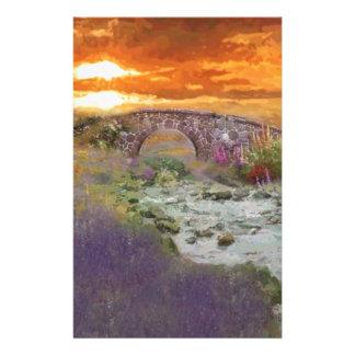 Paisaje Digital del campo de la puesta del sol de Personalized Stationery