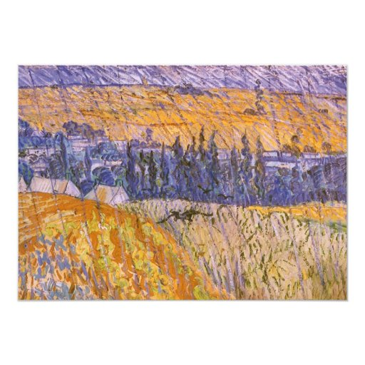 "Paisaje en Auvers en la lluvia, Vincent van Gogh Invitación 5"" X 7"""