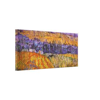 Paisaje en Auvers en lluvia, bella arte de Van Impresion En Lona
