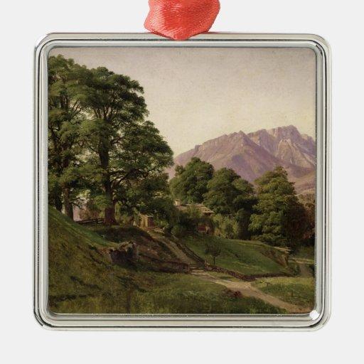 Paisaje en Baviera superior, 1836 Adorno Navideño Cuadrado De Metal