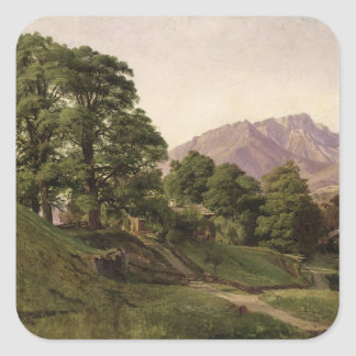 Paisaje en Baviera superior, 1836 Pegatina Cuadrada