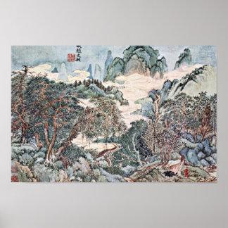 Paisaje en el estilo de Chao Meng-Fu por Wang Impresiones