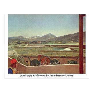 Paisaje en Ginebra de Jean-Etienne Liotard Tarjeta Postal