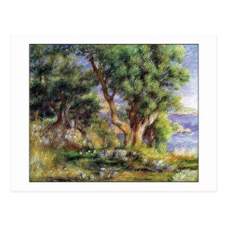 Paisaje en la costa por Renoir Postal