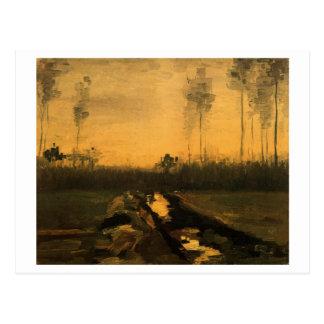 Paisaje en la oscuridad, bella arte de Van Gogh Postal