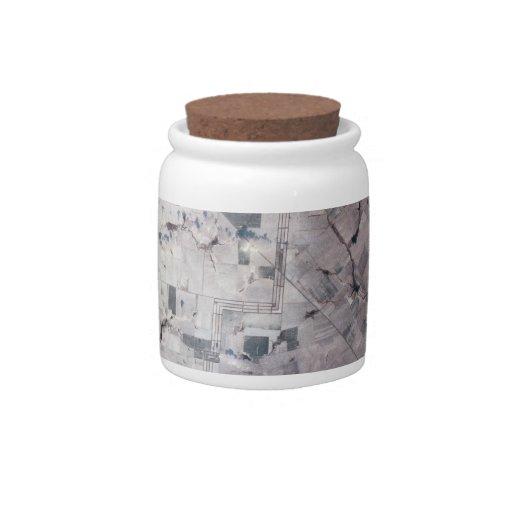 Paisaje en la tierra tarro de cerámica para dulces