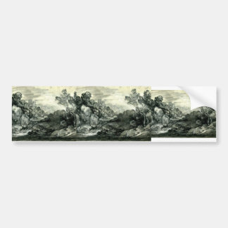 Paisaje enselvado rocoso de Thomas Gainsborough Etiqueta De Parachoque