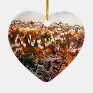 Paisaje escarpado adorno navideño de cerámica en forma de corazón