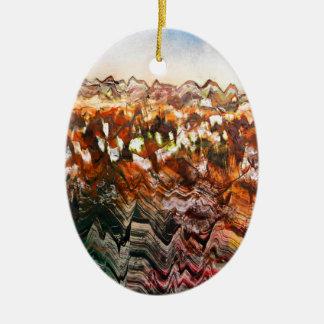 Paisaje escarpado adorno navideño ovalado de cerámica