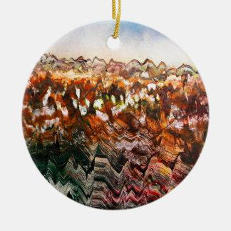 Paisaje escarpado adorno navideño redondo de cerámica