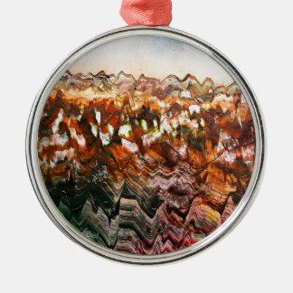 Paisaje escarpado adorno navideño redondo de metal