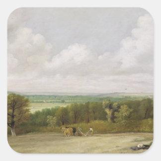 Paisaje: Escena de arado en Suffolk (un Summerlan Pegatina Cuadrada