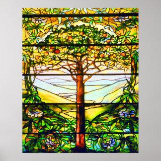 Paisaje escénico del árbol de la ventana póster