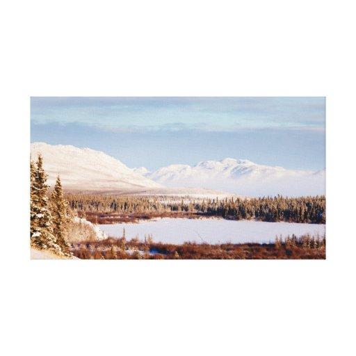 Paisaje escénico del invierno en el lago Laberge,  Impresiones En Lona