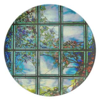 Paisaje escénico del vitral del vintage plato