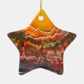 Paisaje estriado adorno navideño de cerámica en forma de estrella