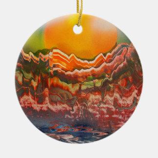Paisaje estriado adorno navideño redondo de cerámica