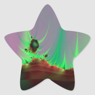 Paisaje extranjero en palillo verde pegatina en forma de estrella