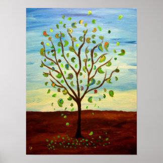 Paisaje feliz del árbol póster