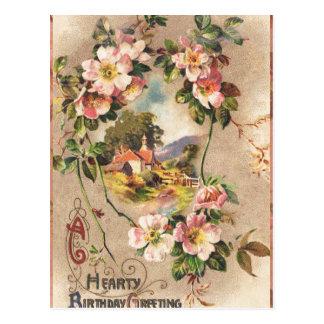 Paisaje floral de los saludos calurosos del postales