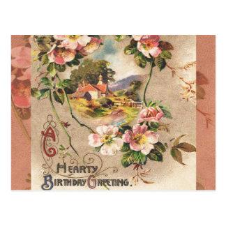 Paisaje floral de los saludos calurosos del tarjeta postal