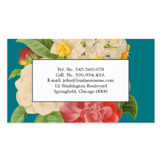 Paisaje floral del vintage botánico de la tarjetas de visita