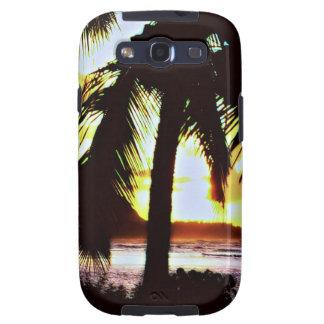 Paisaje hawaiano de la puesta del sol galaxy s3 cárcasa