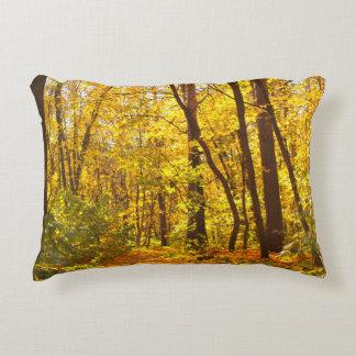 Paisaje hermoso - camino en bosque del otoño cojín