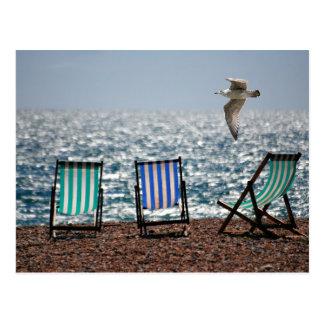 Paisaje hermoso de la gaviota de la playa del mar tarjeta postal