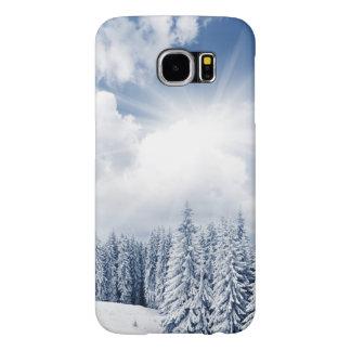 Paisaje hermoso del invierno con nieve fundas samsung galaxy s6