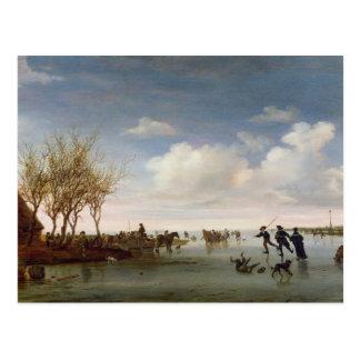 Paisaje holandés con los patinadores tarjetas postales
