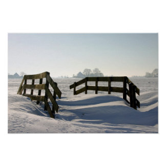 Paisaje holandés típico del invierno en Holanda Póster