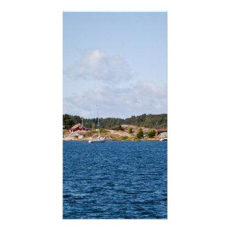 Paisaje idílico de la costa plantilla para tarjeta de foto