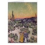 Paisaje iluminado por la luna, 1889 tarjeta de felicitación
