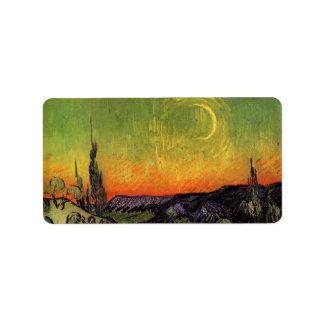Paisaje iluminado por la luna de Vincent van Gogh Etiqueta De Dirección