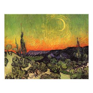 Paisaje iluminado por la luna de Vincent van Gogh Flyer Personalizado