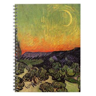 Paisaje iluminado por la luna de Vincent van Gogh Libros De Apuntes Con Espiral