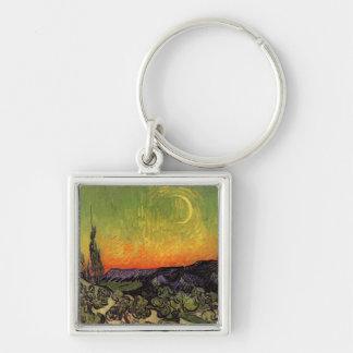 Paisaje iluminado por la luna de Vincent van Gogh Llavero Cuadrado Plateado