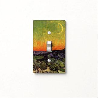 Paisaje iluminado por la luna de Vincent van Gogh Placa Para Interruptor