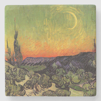 Paisaje iluminado por la luna de Vincent van Gogh Posavasos De Piedra